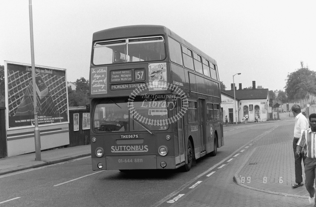 South London Daimler Fleetline Class DMS DMS2567 THX567S at West Croydon ,Station Rd.  in 1989 on route 157 - Russell Fell