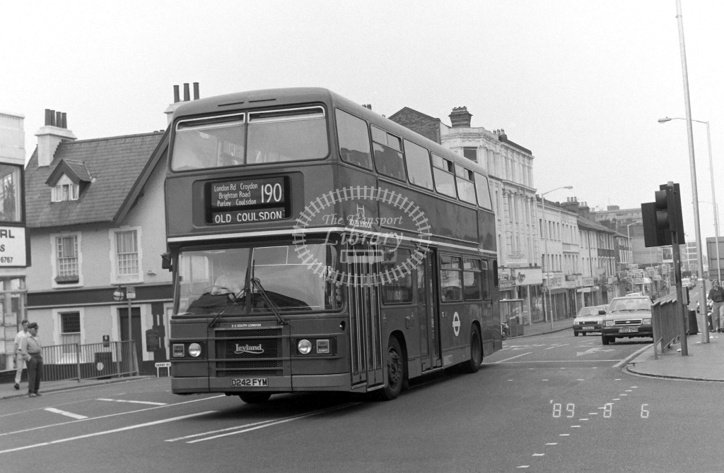 South London Leyland Olympian Class L L242 D242FYM at West Croydon ,Station  in 1989 on route 190 - Russell Fell