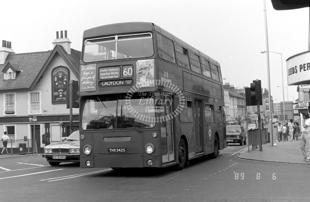 South London Leyland Titan Class DMS DMS2342 THX342S at West Croydon ,Station  in 1989 on route 60 - Russell Fell