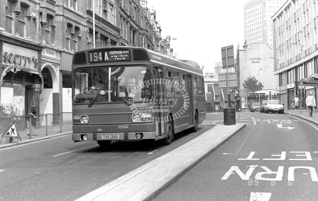 South London Leyland National Class LS LS136 THX136S at Croydon ,High Street  in 1989 on route 194A - Russell Fell