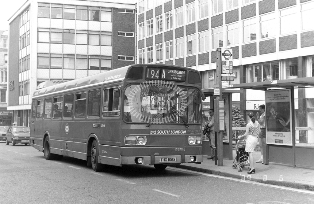 South London Leyland National Class LS LS166 THX166S at Croydon ,Katherine St.  in 1989 on route 194A - Russell Fell