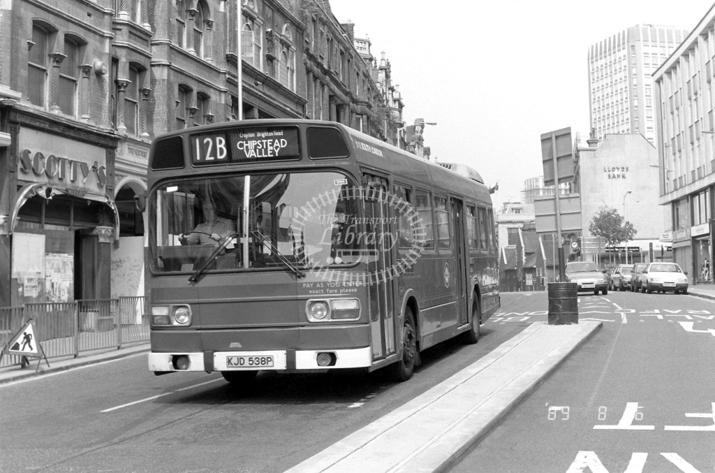 South London Leyland National Class LS LS38 KJD538P at Croydon ,High Street  in 1989 on route 12B - Russell Fell