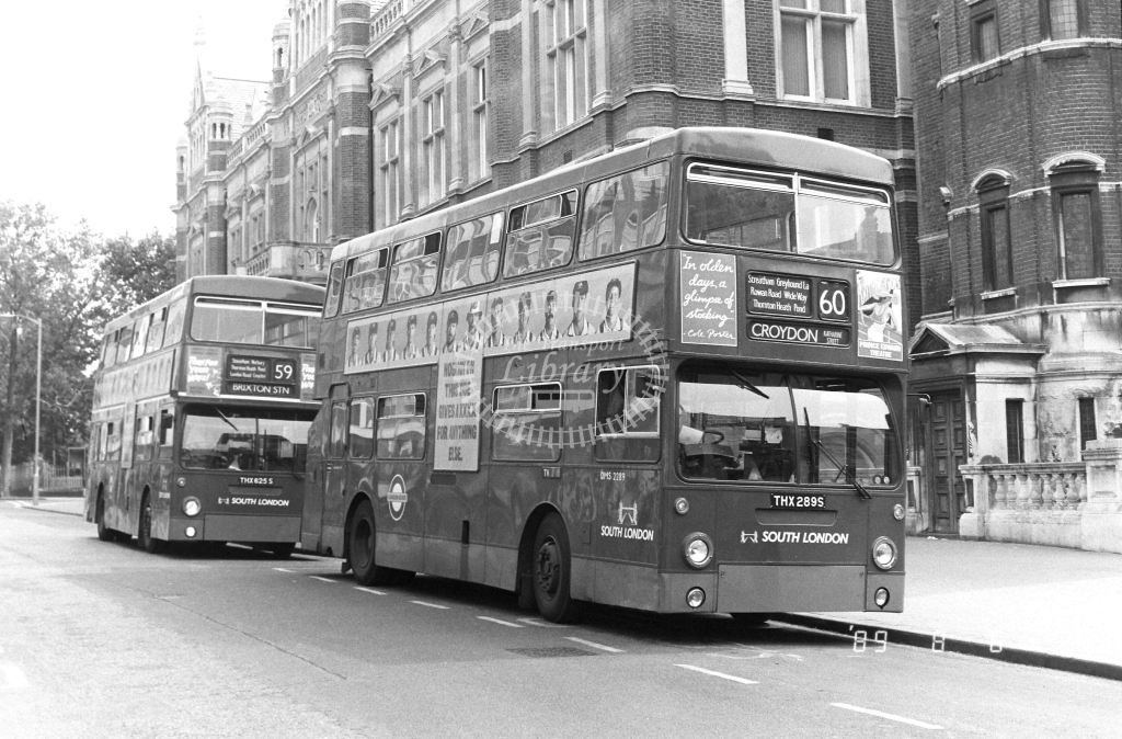 South London Daimler Fleetline Class DMS DMS2289 THX289S at Croydon ,Katherine St.  in 1989 on route 60 - Russell Fell
