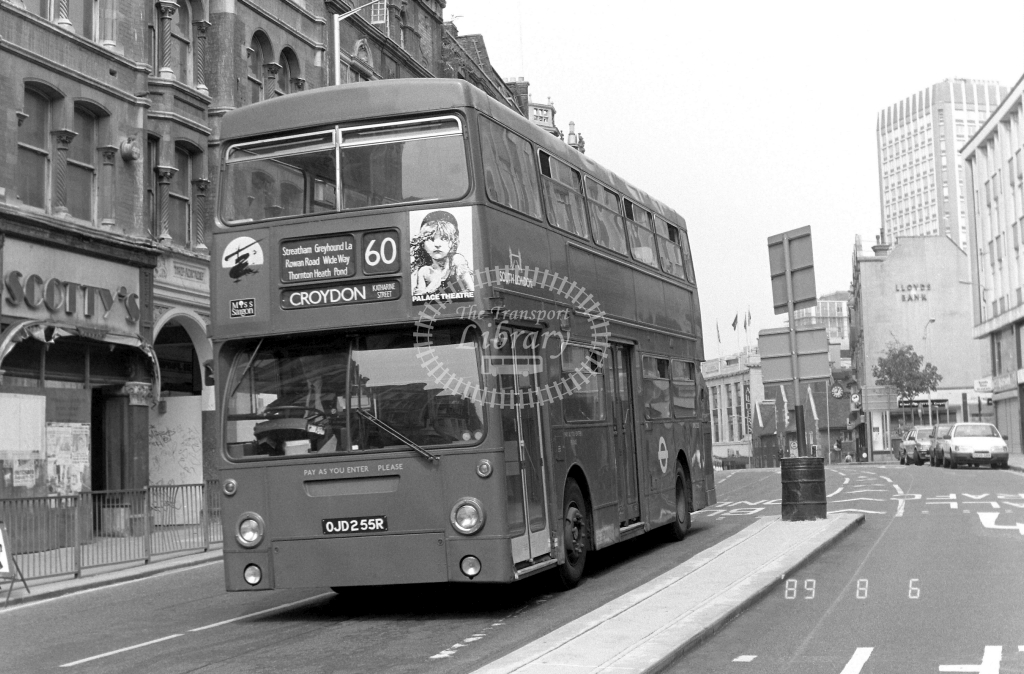 South London Daimler Fleetline Class DMS DMS2255 OJD255R at Croydon ,High Street  in 1989 on route 60 - Russell Fell
