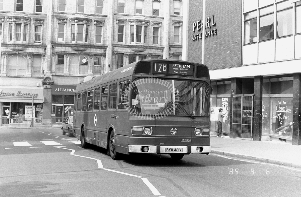 South London Leyland National Class LS LS421 BYW421V at Croydon ,Katherine St.  in 1989 on route 12B - Russell Fell