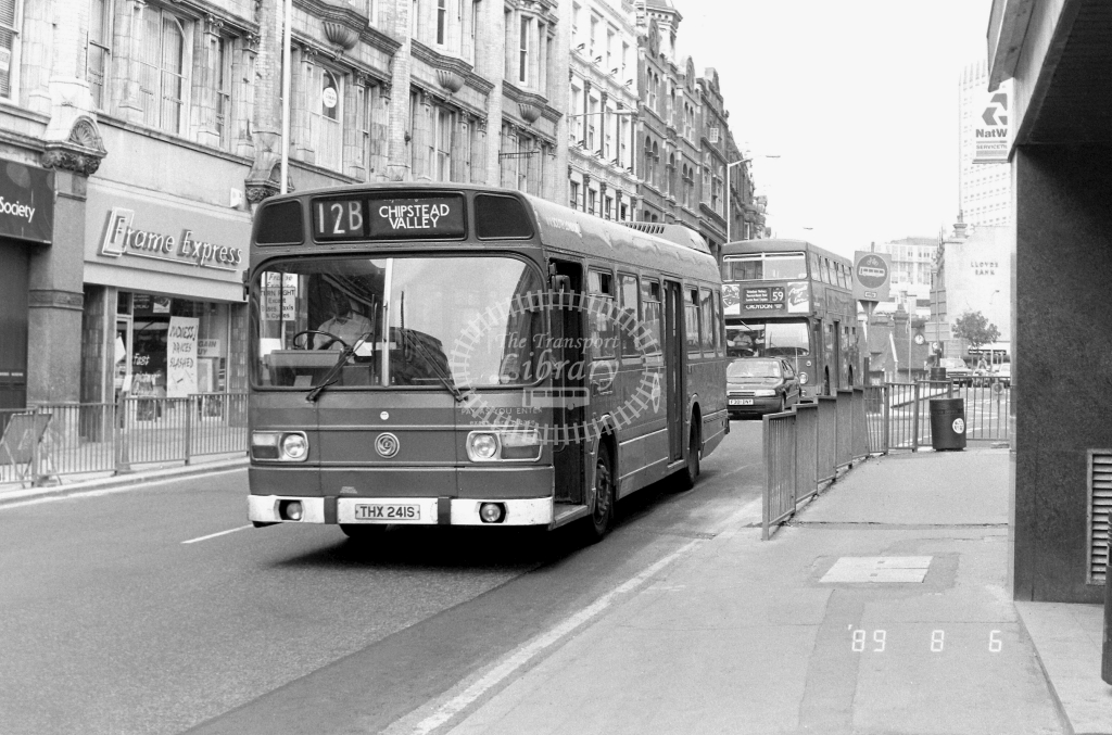 South London Leyland National Class LS LS241 THX241S at Croydon ,High Street  in 1989 on route 12B - Russell Fell