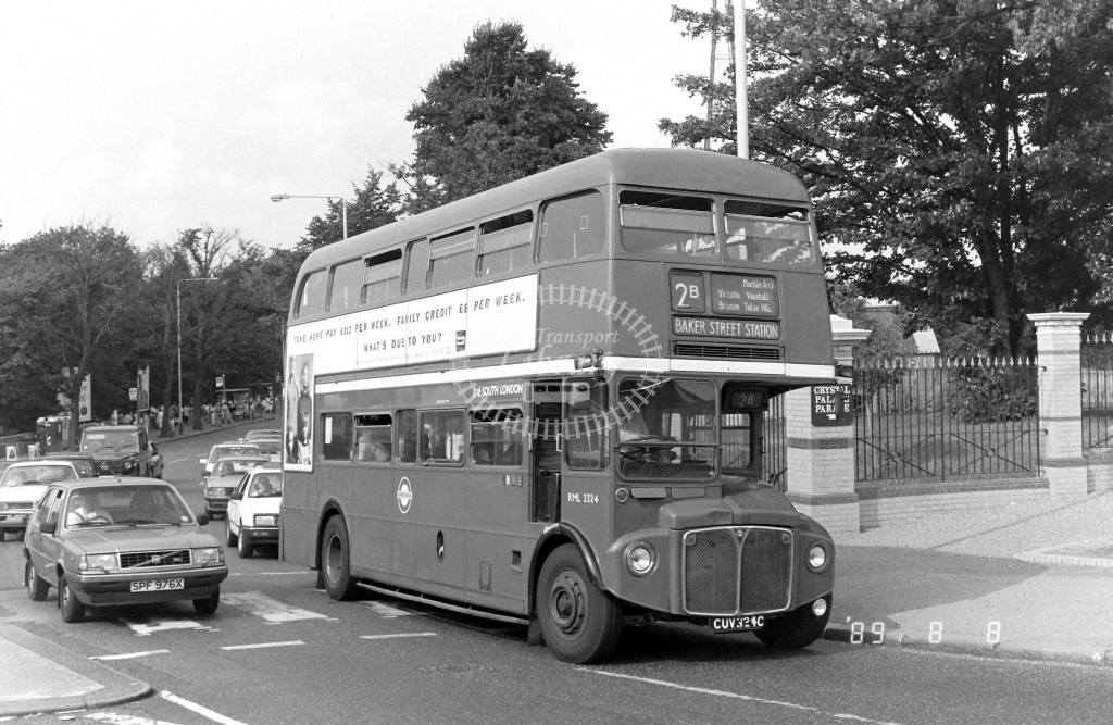 South London AEC Routemaster Class RML RML2324 CUV324C at Crystal Palace ,Parade  in 1989 on route 2B - Russell Fell