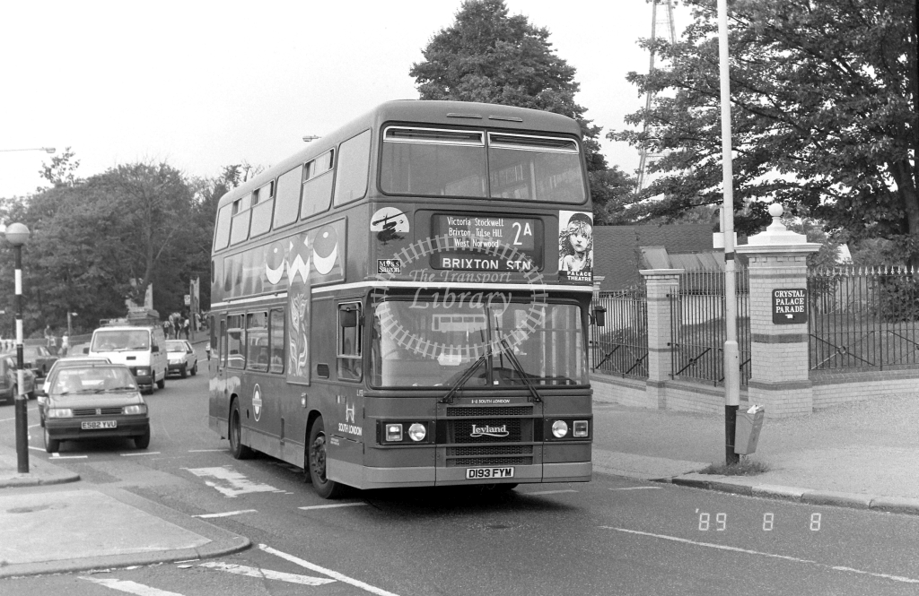 South London Leyland Olympian Class L L193 D193FYM at Crystal Palace ,Parade  in 1989 on route 2A - Russell Fell