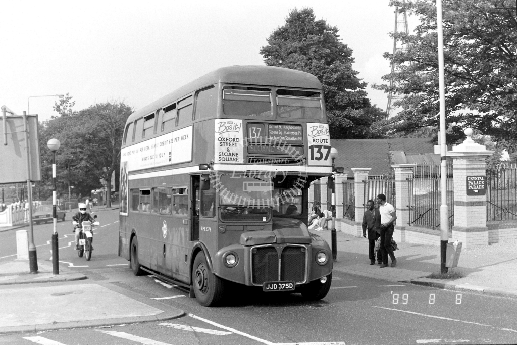 South London AEC Routemaster Class RML RML2375 JJD375D at Crystal Palace ,Parade  in 1989 on route 137 - Russell Fell