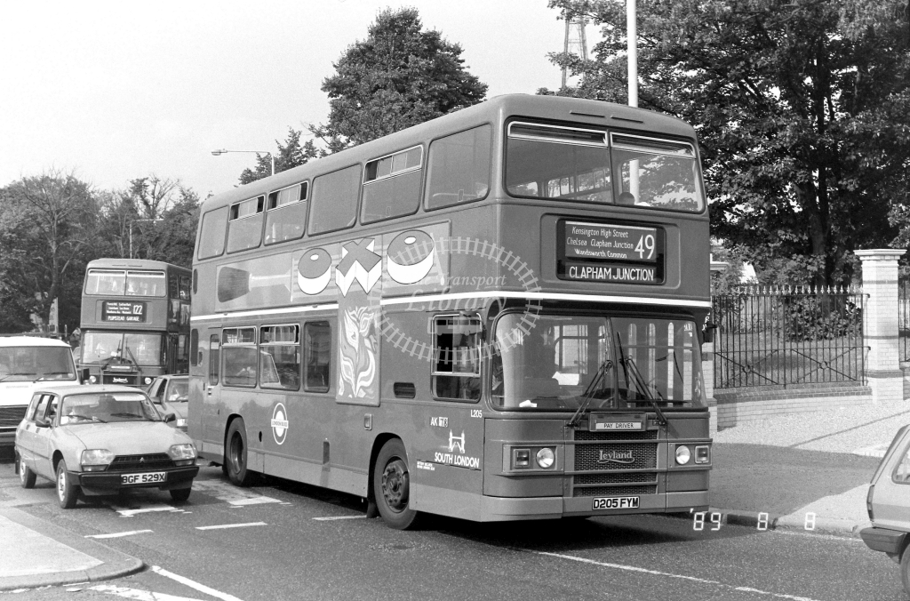 South London Leyland Olympian Class L L205 D205FYM at Crystal Palace ,Parade  in 1989 on route 49 - Russell Fell