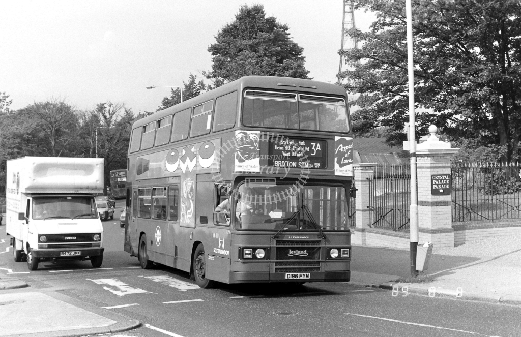South London Leyland Olympian Class L L196 D196FYM at Crystal Palace ,Parade  in 1989 on route 3A - Russell Fell