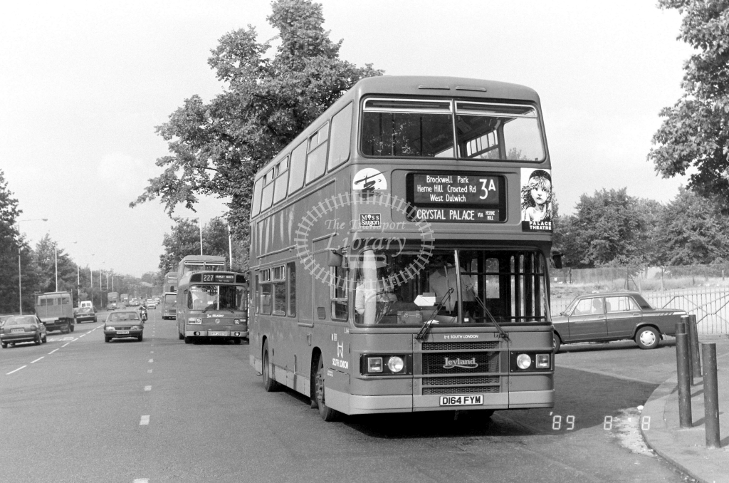 South London Leyland Olympian Class L L164 D164FYM at Crystal Palace ,Parade  in 1989 on route 3A - Russell Fell