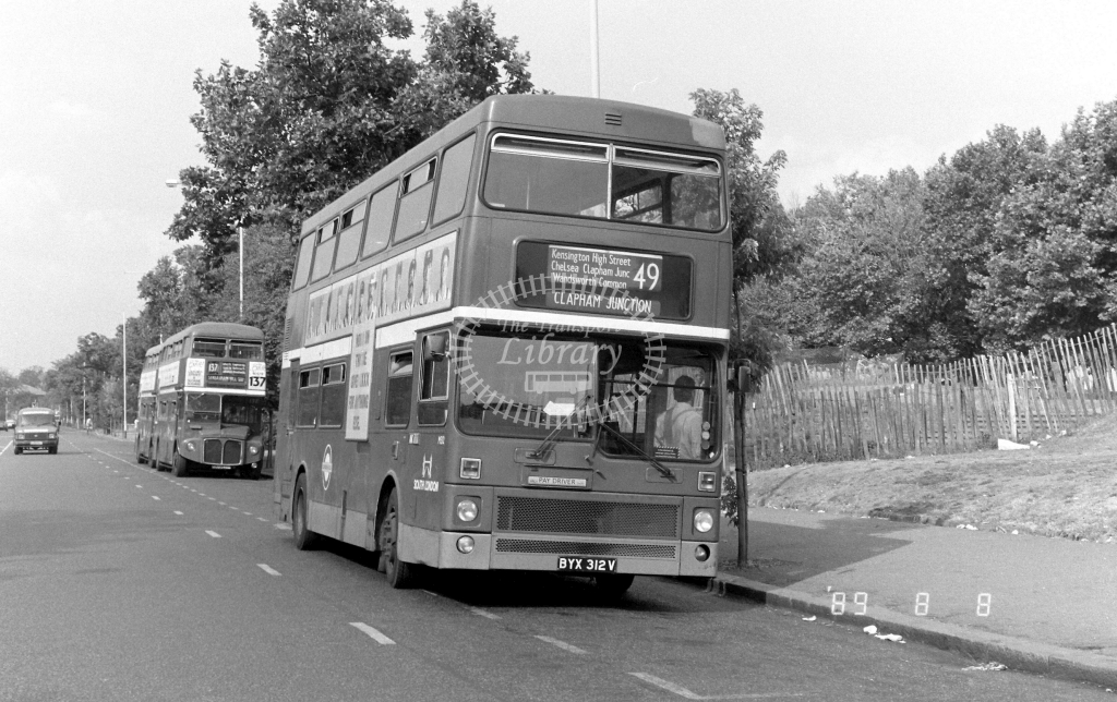 South London MCW Metrobus Class M M312 BYX312V at Crystal Palace ,Parade  in 1989 on route 49 - Russell Fell