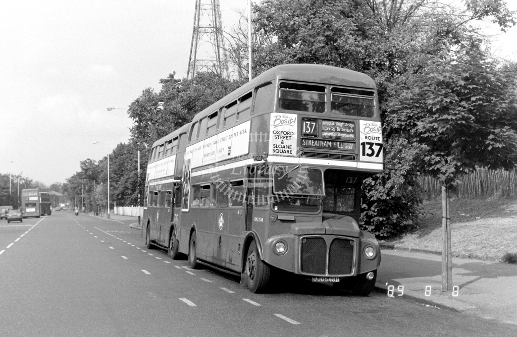 South London AEC Routemaster Class RML RML2548 JJD548D at Crystal Palace ,Parade  in 1989 on route 137 - Russell Fell