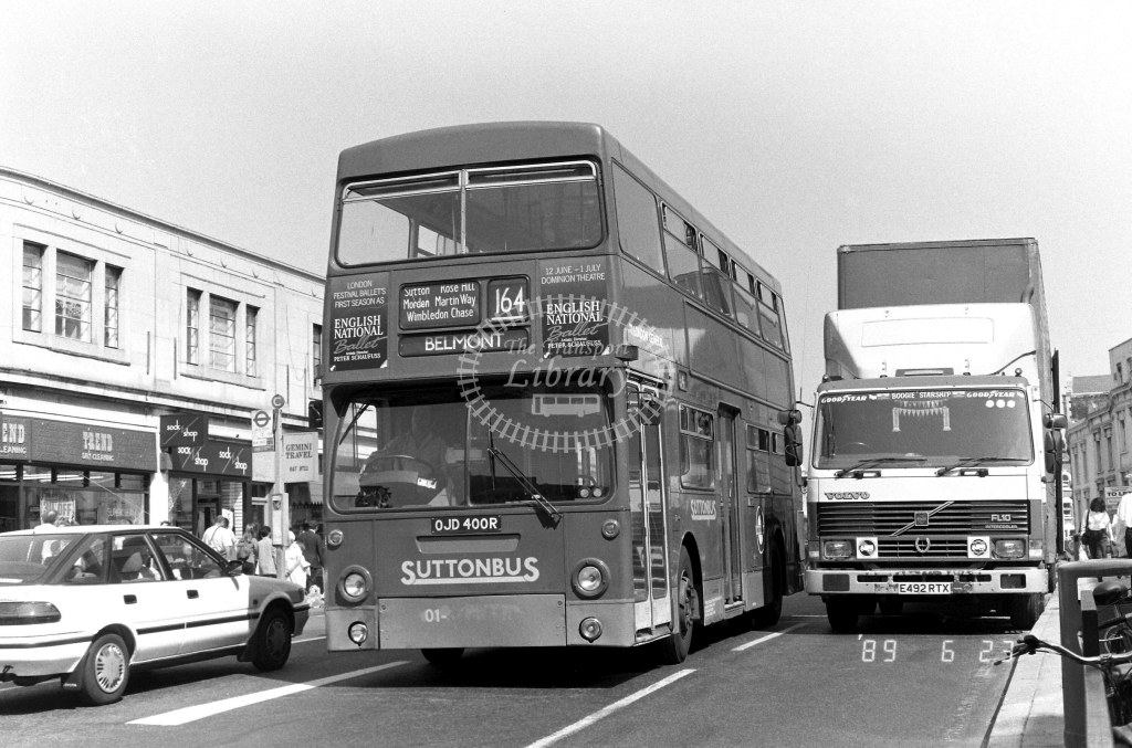 Sutton Bus Daimler Fleetline Class DMS DMS2400 OJD400R at Wimbledon ,The Broadway  in 1989 on route 164 - Russell Fell