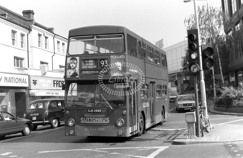 Sutton Bus Daimler Fleetline Class DMS DMS2356 OJD356R at Wimbledon ,The Broadway  in 1989 on route 93 - Russell Fell