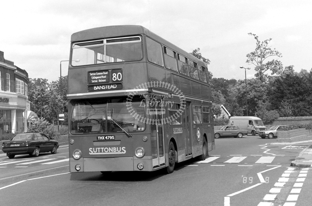 Sutton Bus Daimler Fleetline Class DMS DMS2479 THX479S at Morden ,Morden Hall Rd.  in 1989 on route 80 - Russell Fell