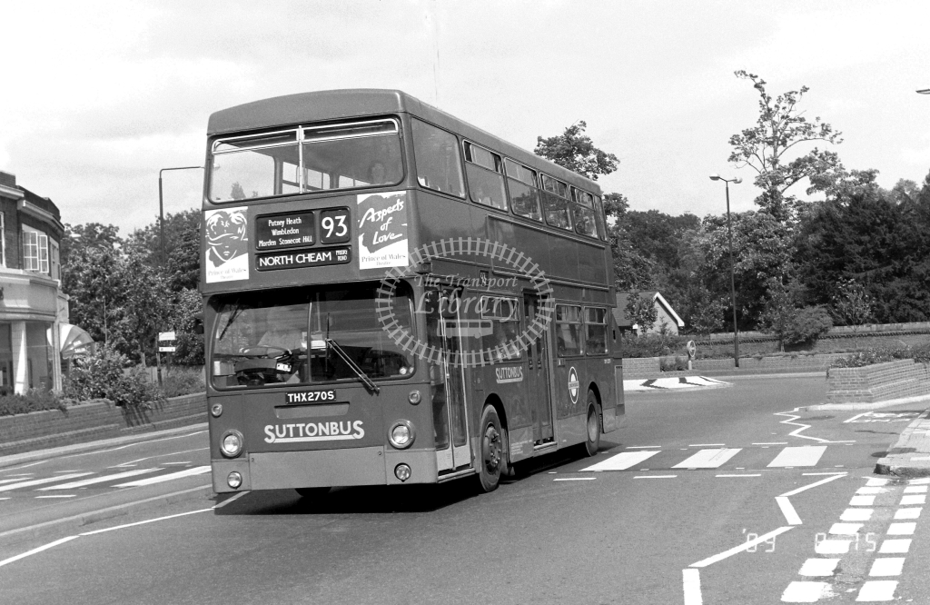 Sutton Bus Daimler Fleetline Class DMS DMS2270 THX270S at Morden ,Morden Hall Rd.  in 1989 on route 93 - Russell Fell