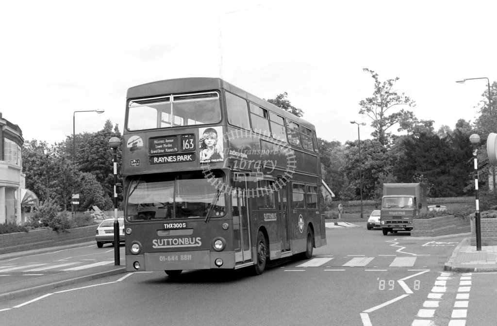Sutton Bus Daimler Fleetline Class DMS DMS2300 THX300S at Morden ,Morden Hall Rd.  in 1989 on route 163 - Russell Fell