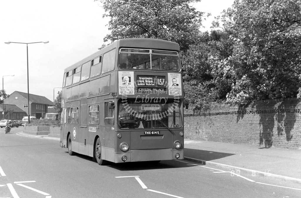 Sutton Bus Daimler Fleetline Class DMS DMS2614 THX614S at Morden ,Morden Hall Rd.  in 1989 on route 157 - Russell Fell