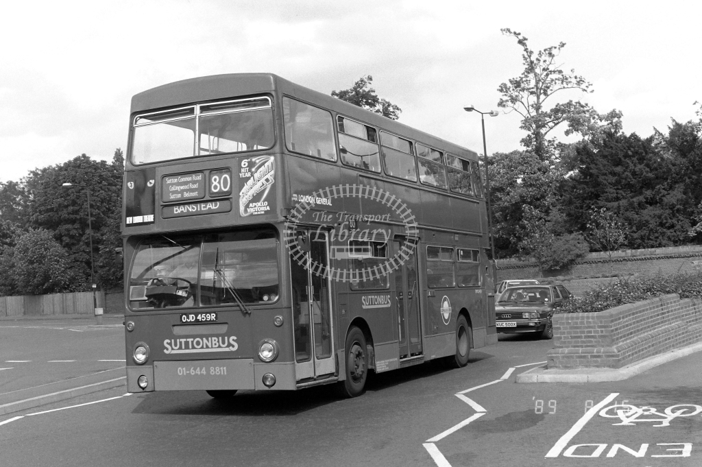 Sutton Bus Daimler Fleetline Class DMS DMS2459 OJD459R at Morden ,Station Rd.  in 1989 on route 80 - Russell Fell
