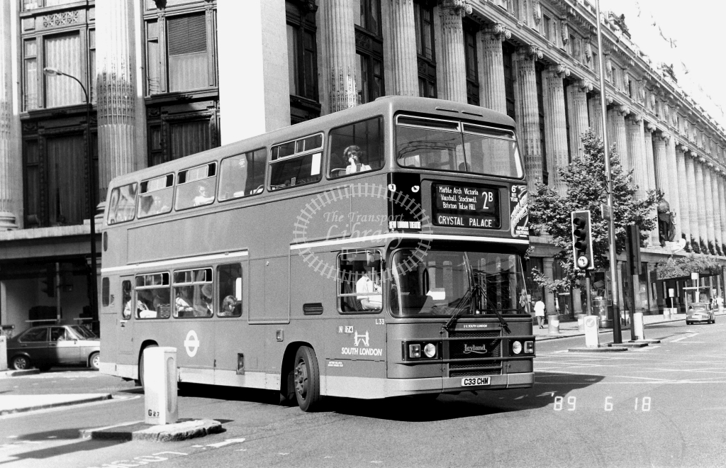 South London Leyland Olympian Class LS L33 C33CHM at Oxford Street ,Oxford Street  in 1989 on route 2B - Russell Fell
