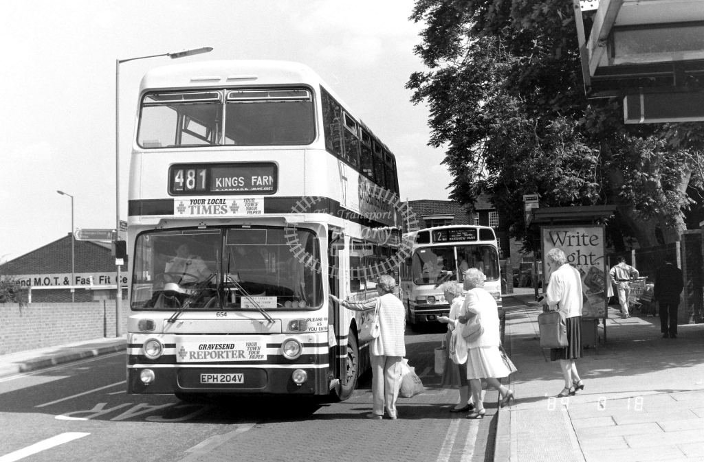 Kentish Bus Leyland Atlantean Class AN AN204 EPH204V at Gravesend ,West St.  in 1989 on route 481 - Russell Fell