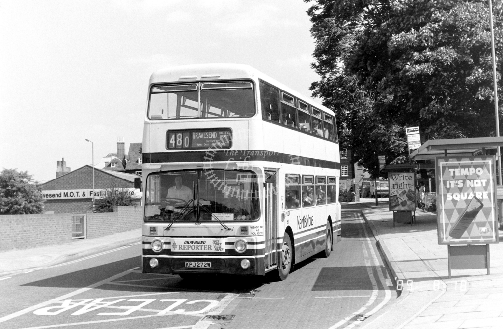 Kentish Bus Leyland Atlantean Class AN AN272 KPJ272W at Gravesend ,West St.  in 1989 on route 480 - Russell Fell