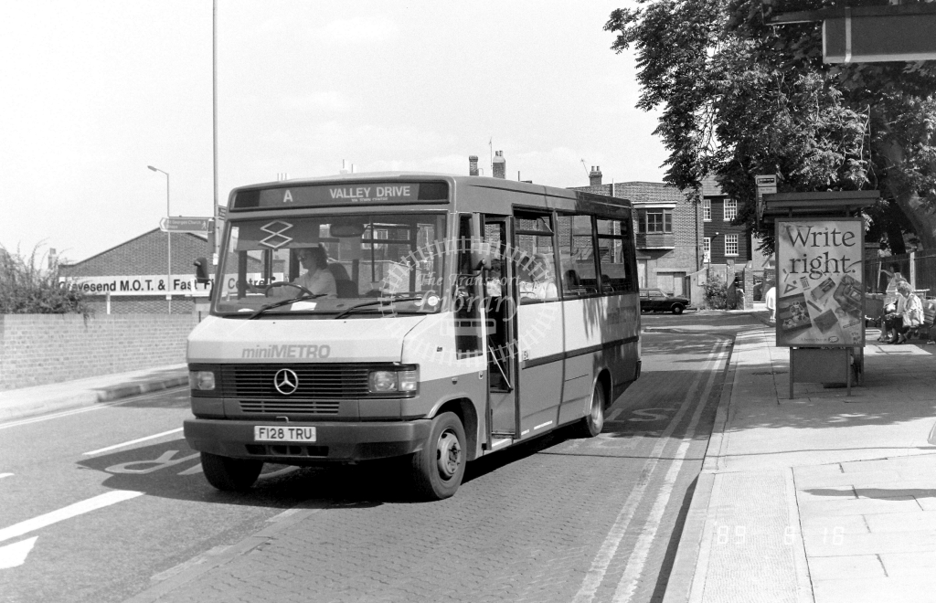 Minimetro Mercedes 709D F128TRU at Gravesend ,West St.  in 1989 on route A - Russell Fell
