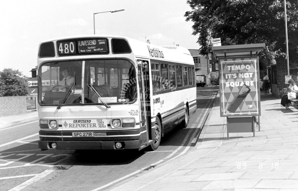 Kentish Bus Leyland National Class SNB SNB271 SPC271R at Gravesend ,West St.  in 1989 on route 480 - Russell Fell