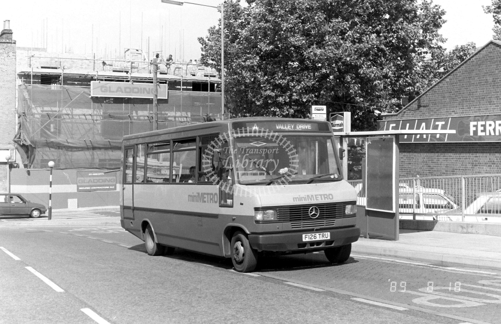 Minimetro Mercedes 709D F126TRU at Gravesend ,Princes St.  in 1989 on route A - Russell Fell
