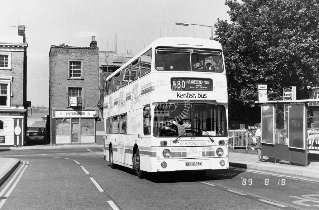 Kentish Bus Leyland National Class AN AN225 EPH225V at Gravesend ,Princes St.  in 1989 on route 480 - Russell Fell