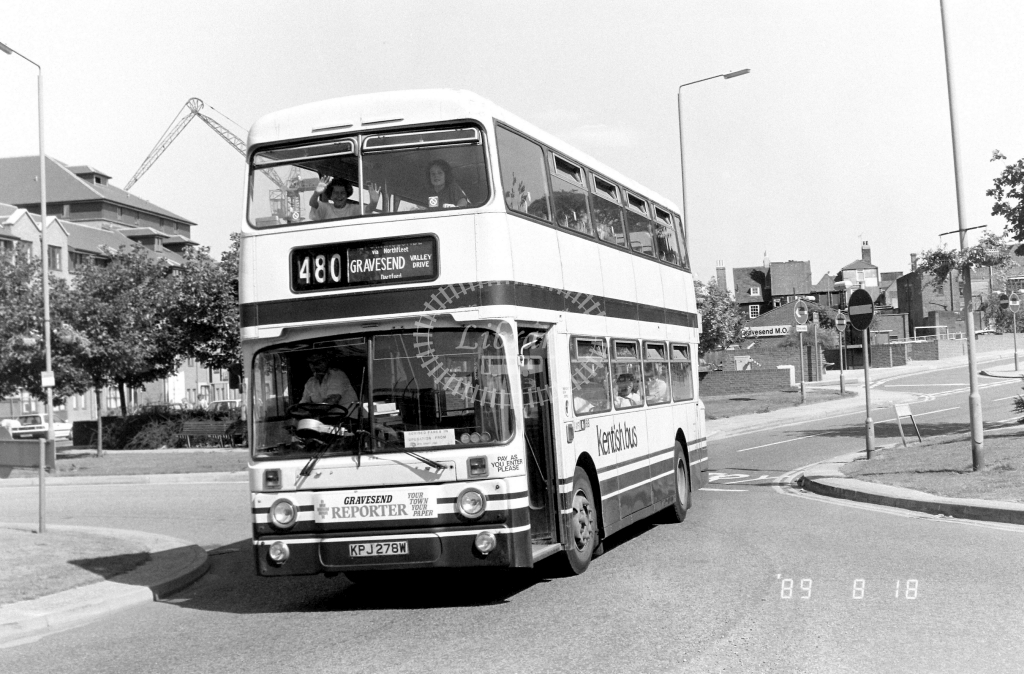 Kentish Bus Leyland Atlantean Class AN AN278 KPJ278W at Gravesend ,The Terrace  in 1989 on route 480 - Russell Fell