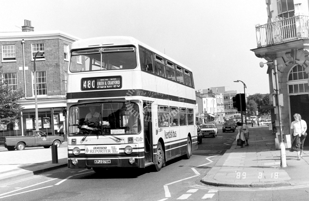 Kentish Bus Leyland Atlantean Class AN AN278 KPJ278W at Gravesend ,King St  in 1989 on route 480 - Russell Fell