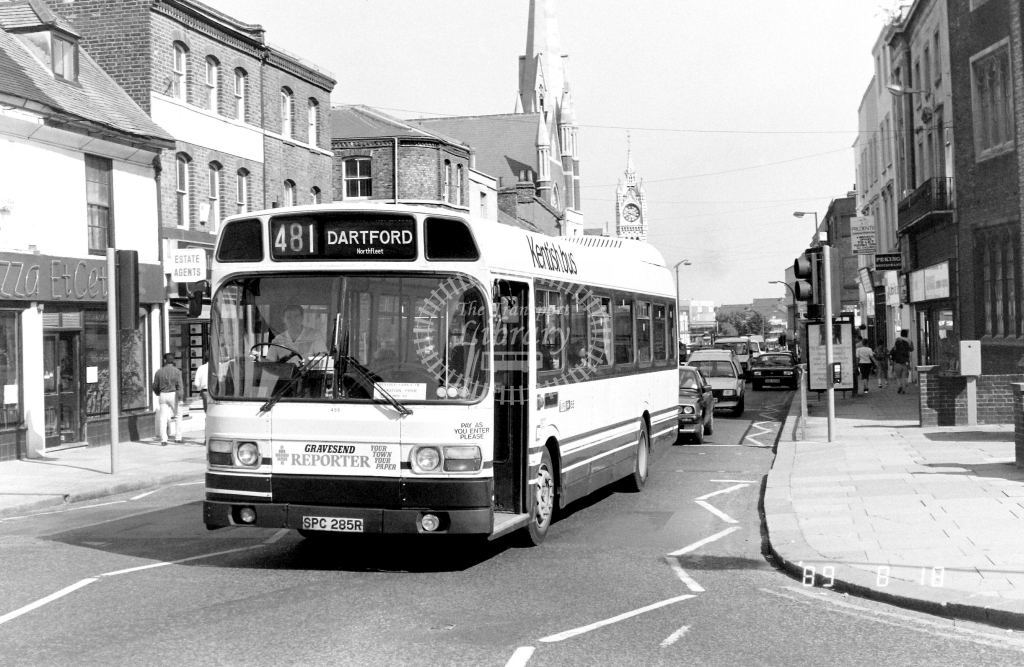 Kentish Bus Leyland National Class SNB SNB285 SPC285R at Gravesend ,King St  in 1989 on route 481 - Russell Fell