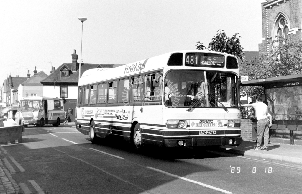 Kentish Bus Leyland National Class SNB SNB276 SPC276R at Gravesend ,Lord St.  in 1989 on route 481 - Russell Fell