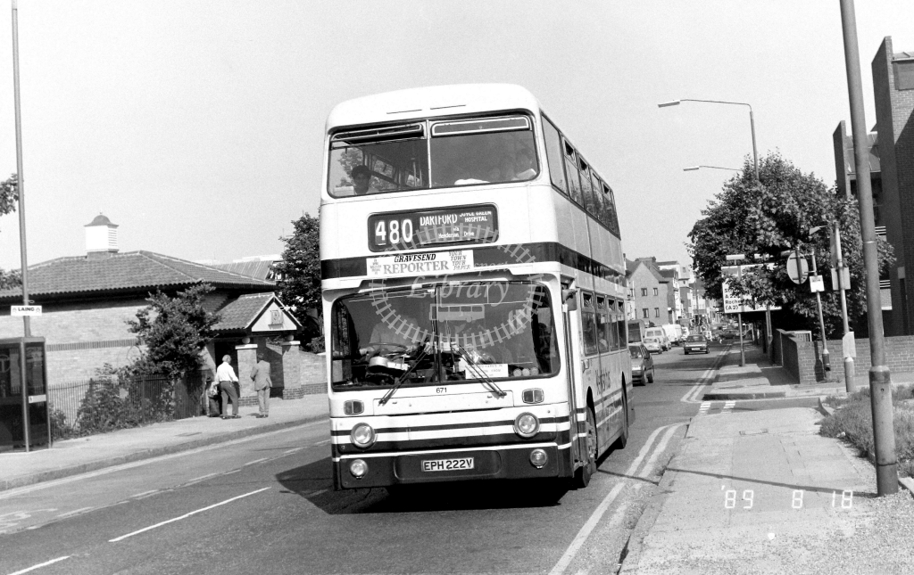 Kentish Bus Leyland Atlantean Class AN AN222 EPH222V at Gravesend ,Overcliffe  in 1989 on route 480 - Russell Fell