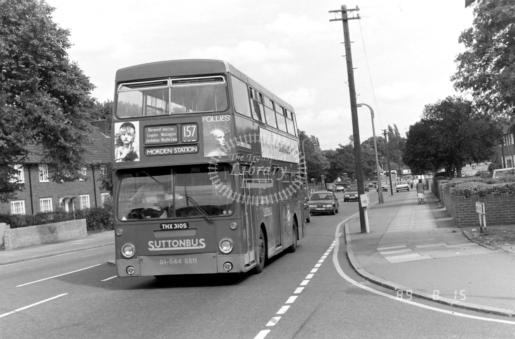 Sutton Bus Daimler Fleetline Class DMS DMS2310 THX310S at Morden ,Aberconway Rd.  in 1989 on route 157 - Russell Fell