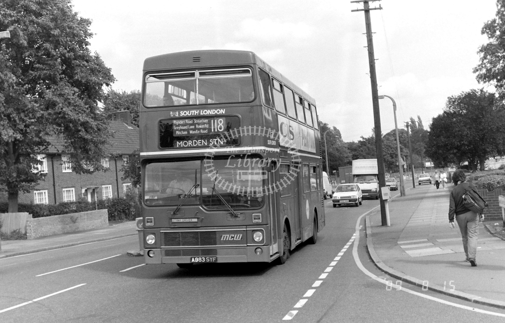 South London MCW Metrobus Class M M983 A983SYF at Morden ,Aberconway Rd.  in 1989 on route 118 - Russell Fell