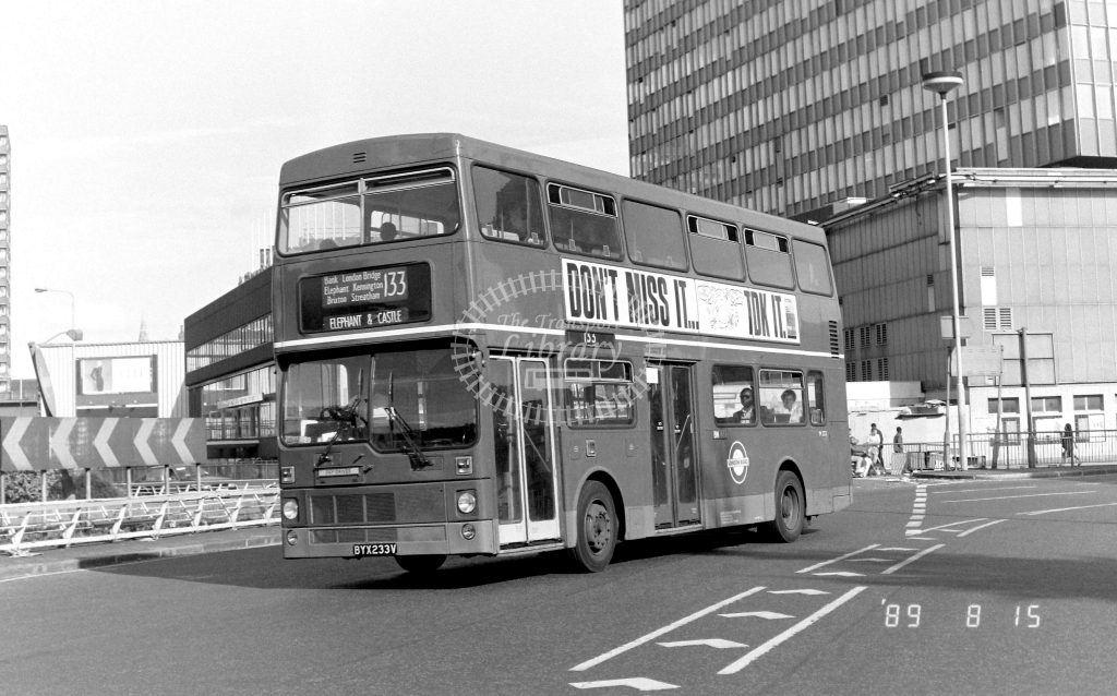 South London MCW Metrobus Class M M233 BYX233V at Elephant & Castle ,LT Station  in 1989 on route 133 - Russell Fell