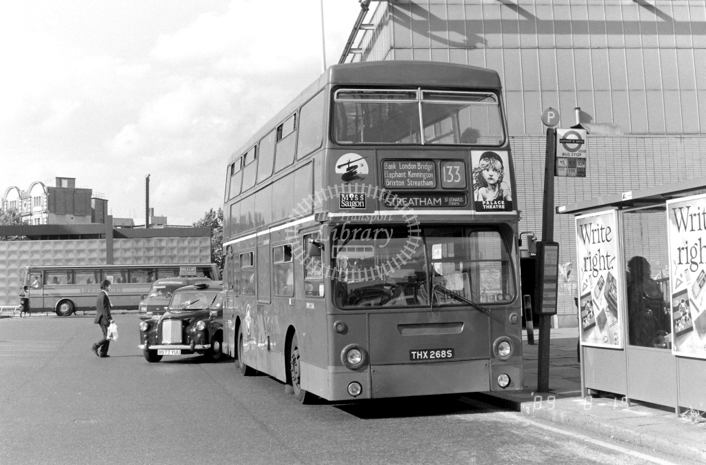 South London Daimler Fleetline Class DMS DMS2268 THX268S at Elephant & Castle ,LT Station  in 1989 on route 133 - Russell Fell