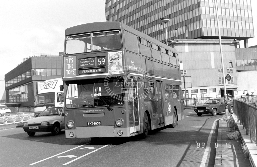 South London Daimler Fleetline Class DMS DMS2493 THX493S at Elephant & Castle ,LT Station  in 1989 on route 59 - Russell Fell