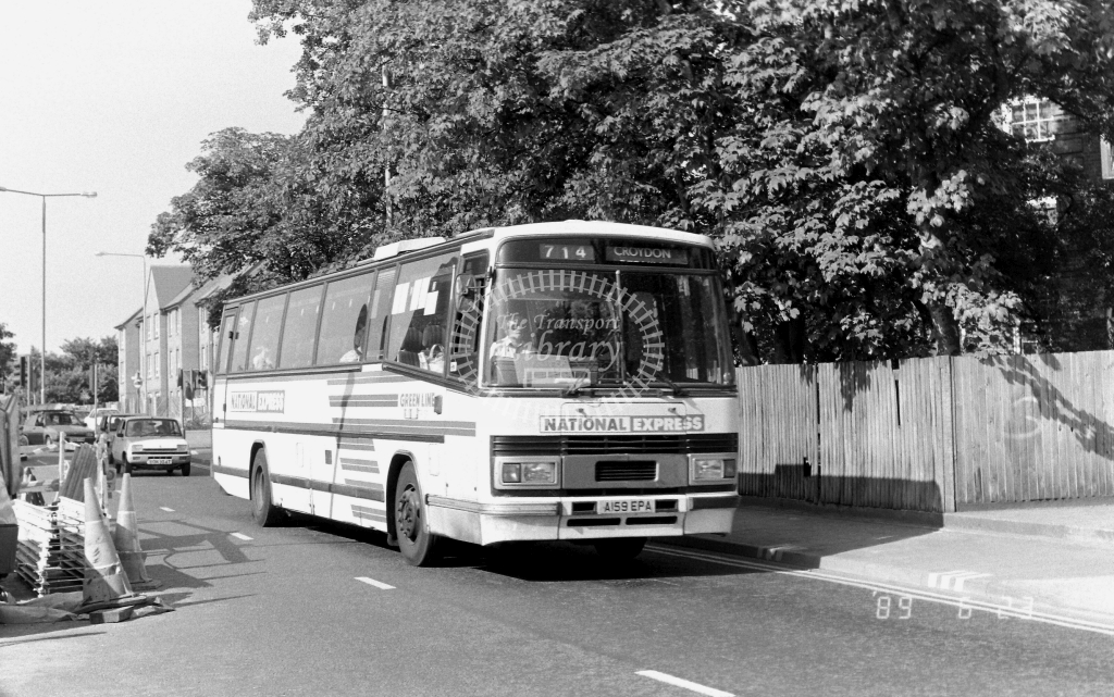 London Country South  West Green Line Leyland Tiger Class TPL TPL59 A159EPA at Kingston ,Queen Eliz. Rd.  in 1989 on route 714 - Russell Fell