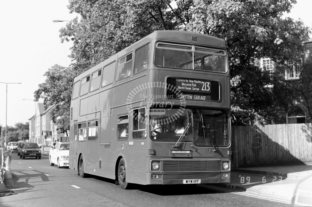 Sutton Bus MCW Metrobus Class M M19 WYW19T at Kingston ,Queen Eliz. Rd.  in 1989 on route 213 - Russell Fell
