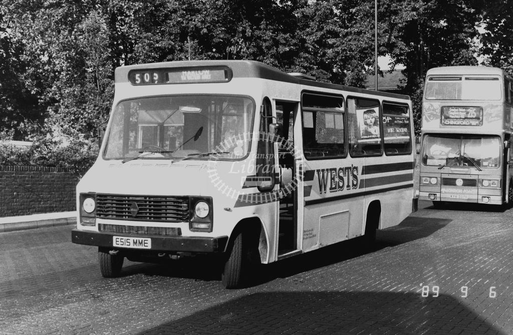 West's Coaches Renault E515MME at Walthamstow  ,Bus Station  in 1989 on route 505 - Russell Fell