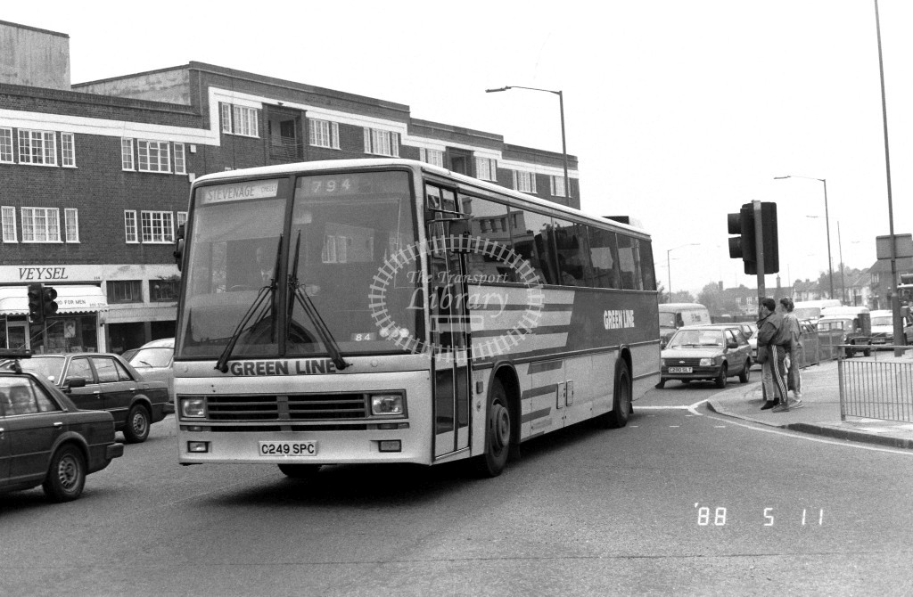 London Country North East Leyland Tiger TDL49 C249SPC  at Hendon  , LT Station  in 1988 on route  794  - Russell Fell