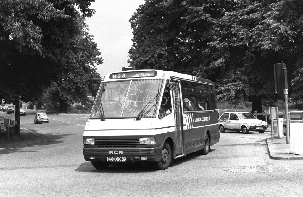 London Country North West MCW Metrorider MCW18 E988DNK  at Hemel Hempstead , London Road  in 1988 on route  H38  - Russell Fell