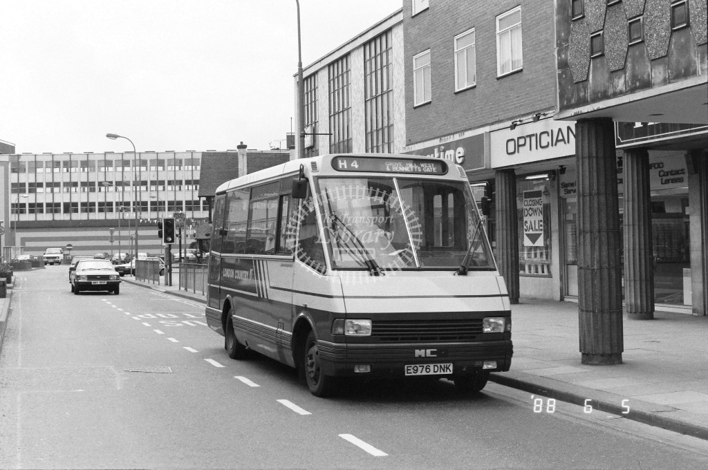 London Country North West MCW Metrorider MCW6 E976DNK  at Hemel Hempstead , Marlowes  in 1988 on route  H4  - Russell Fell