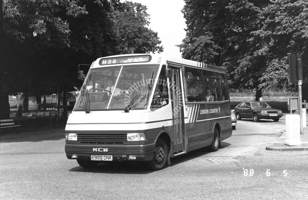 London Country North West MCW Metrorider MCW18 E988DNK  at Hemel Hempstead , Two Waters  in 1988 on route  H38  - Russell Fell