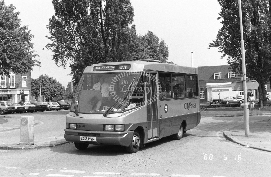 Welwyn Hatfield Line Volkswagen Optare VO4 E513PWR  at Welwyn Garden City , Station  in 1988 on route  W3  - Russell Fell